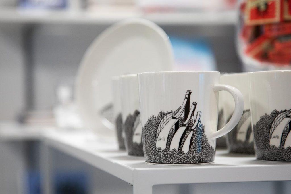 Coffee mug with Lahti illustration.
