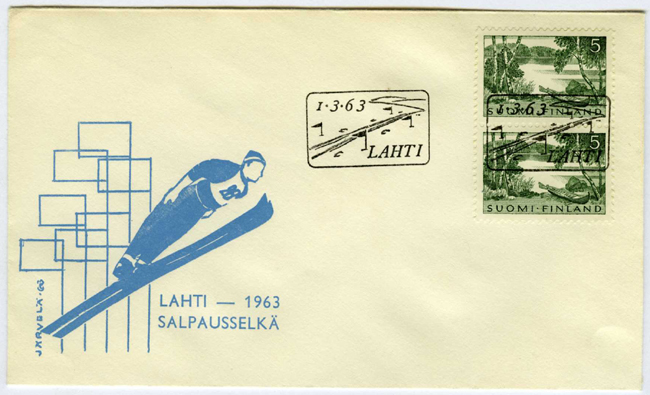 Kirjekuori jossa on mäkihyppääjän kuva.