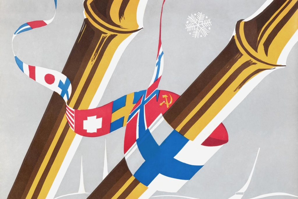 Old poster with flags.